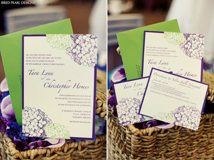 Elegant purple green wedding invitation