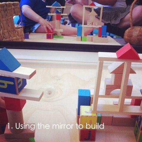 Bij deze activiteit probeert men op de verbeelding van kinderen aan te spreken ook maakt men gebruik van een spiegel om een extra ervaring op te doen. De kinderen krijgen een bak met blokken aangeboden op een mat bij een muur waar een spiegel aan bevestigd is. op deze manier kunnen ze bouwen en zien ze hun bouwwerk langs verschillende kanten er uit ziet, dit zal leiden tot diverse manieren van spelen.