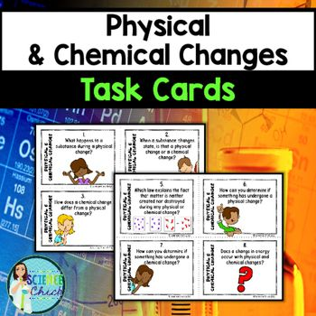 Do your students need extra practice with physical & chemical changes? With these task cards, your students will be asked: how does a chemical change differ from a physical change, what happens to atoms during a chemical change, how can you tell when a substance has undergone a physical change, how you can tell when a substance has undergone a chemical change, and so much more!