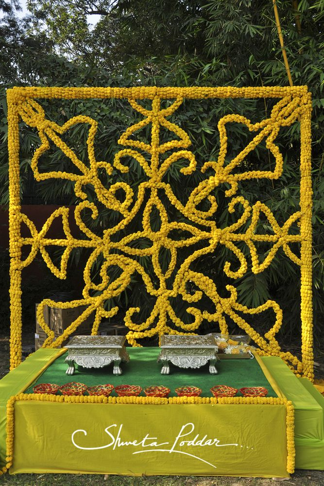 Mehendi Wedding Decor - Marigold Flowers Inspired Stage Decor #wedmegood #decor #marigold
