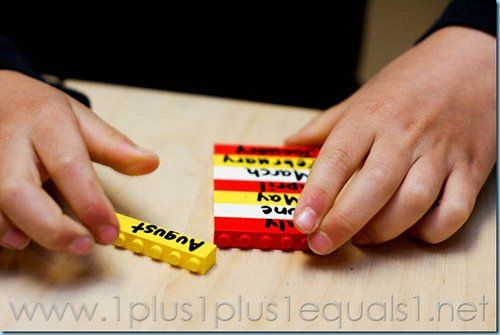 Learning Months of the Year with LEGOS (Photo from 1+1+1=1)