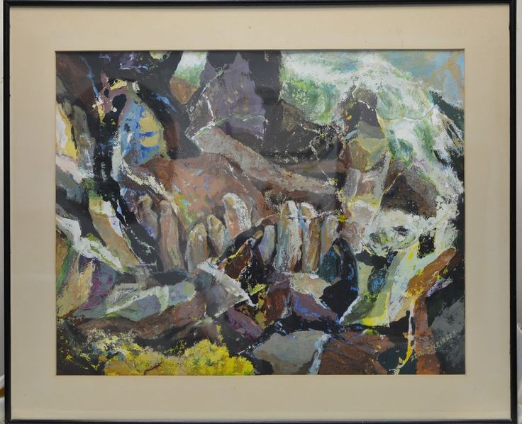 Signed Zella Mae(Wunderlich) Dickinson (1895-1982) Abstract Waterfall Painting #Abstract
