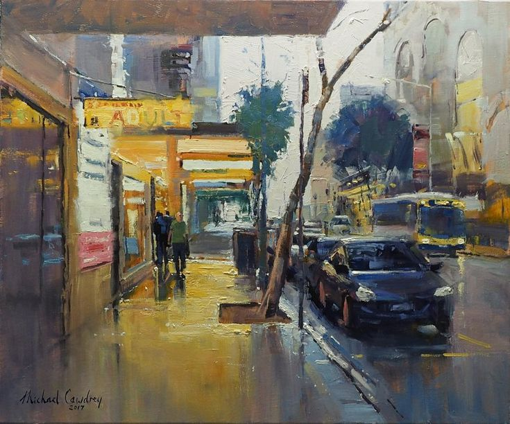 A Colourful Part Of Elizabeth Street  Oil painting street scene of Brisbane by Michael Cawdrey