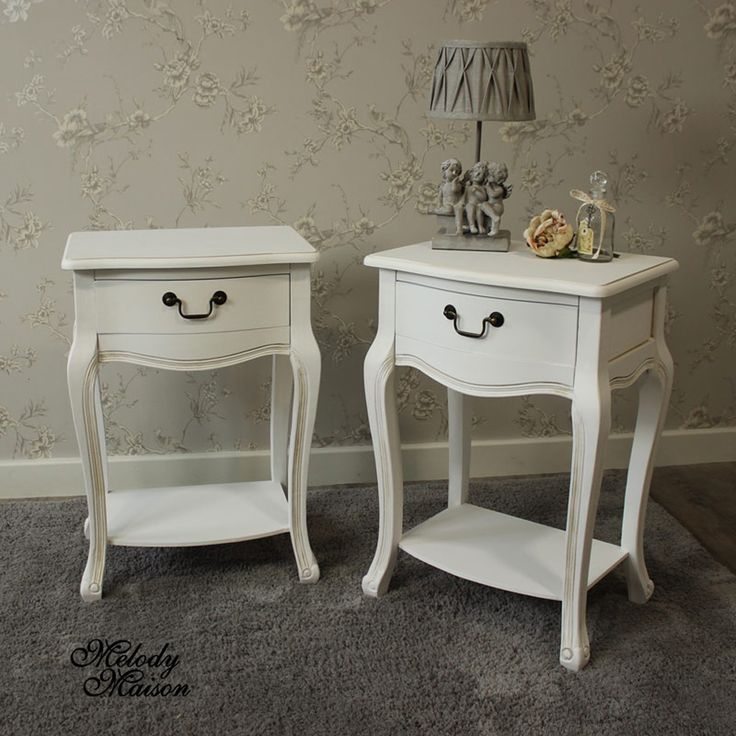 Classic White Range - Bedside Table with Shelf A pair of lovely one drawer bedside tables with shelf underneath Featuring elegant curved legs with a carved effect finish The metal really gives the French aged look  Suitable for many rooms in the house