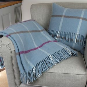 Duck Egg Blue Check Wool Throw