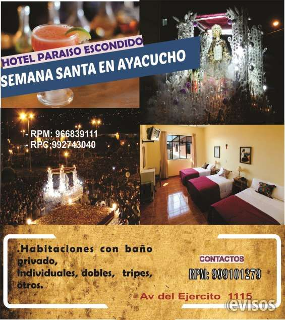 Hospedaje Semana Santa Ayacucho Alquilamos habitaciones cómodas con baño privado, matrimoniales, dobles, tripes. Agua caliente, ... http://ayacucho-city.evisos.com.pe/hospedaje-semana-santa-ayacucho-id-650237