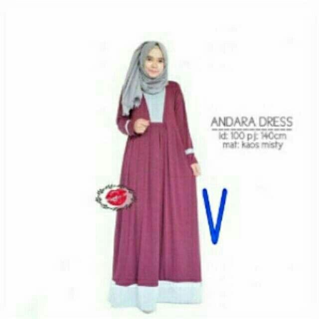 @73000 andara dress bahan spandek uk all size fit L