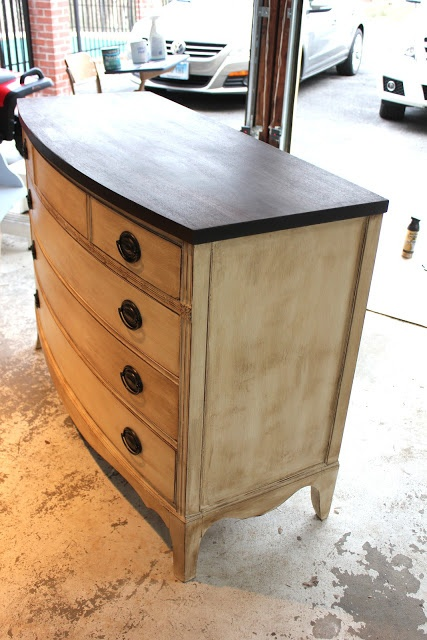 Minwax Dark Walnut Stain on top; Annie Sloan Old White Chalk Paint for the rest then wax; Rustoleum Antique Bronze on hardware