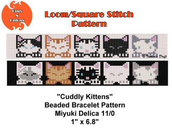 Loom Beading Pattern, Cuddly Kittens, Seed Bead Pattern, Beaded Bracelet Pattern, Instant Download PDF