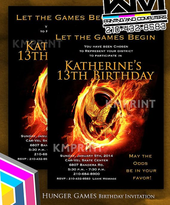 Hunger Games Invitation For Boys Or Girls 5x7 By
