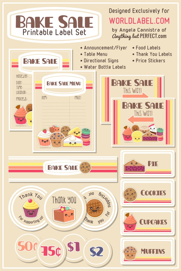 This is an image of Monster Free Printable Bake Sale Signs