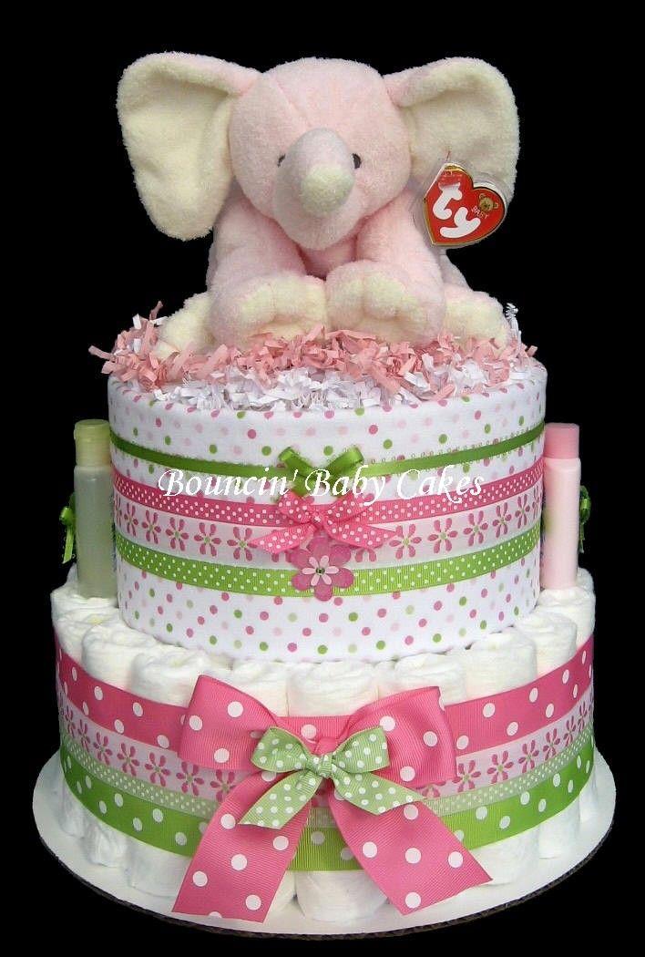 Diaper cakes for baby girl shower