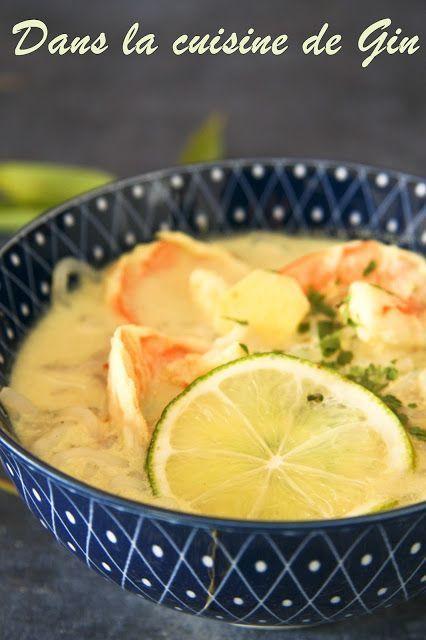 Bouillon Thaï à ma façon Petite soupe détox façon thaï au gingembre et lait de coco, avec des nouilles de konjac