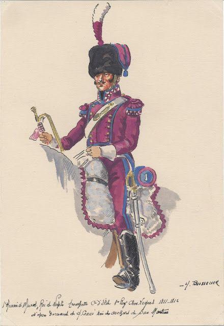 2e Armée de Joachim Murat, roi de Naples Trompette compagnie d'élite 2e Régiment chevau-légers 1811-1812