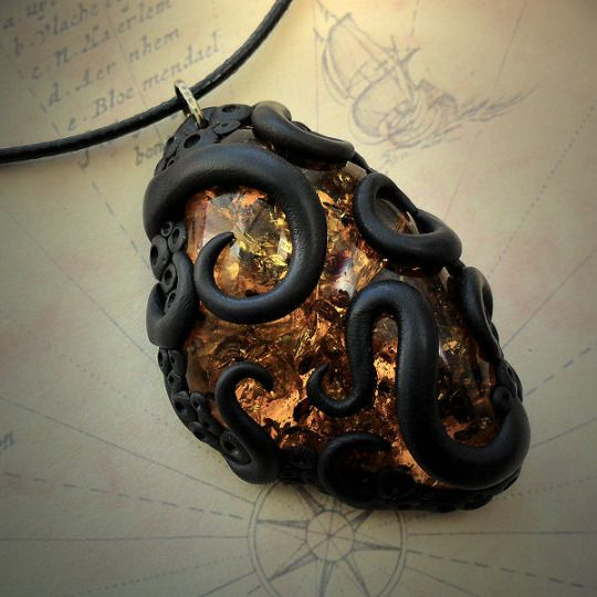 Tentacled Faux Amber Necklace http://www.cthulhujewellery.com