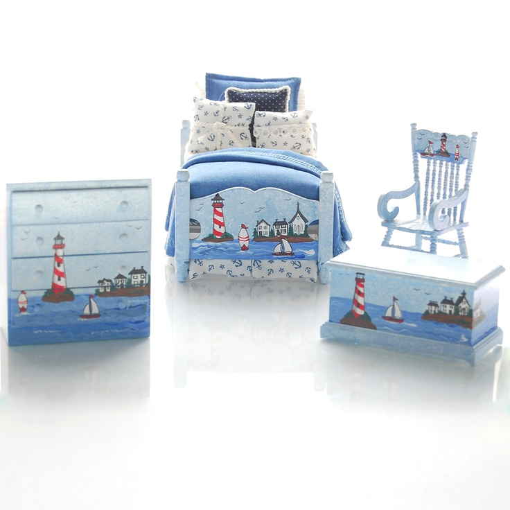 BY THE SHORE Nautical Dollhouse Miniature - Hand-Painted 4pc Bedroom Bed Set. $239.00, via Etsy. Wow. I like it!