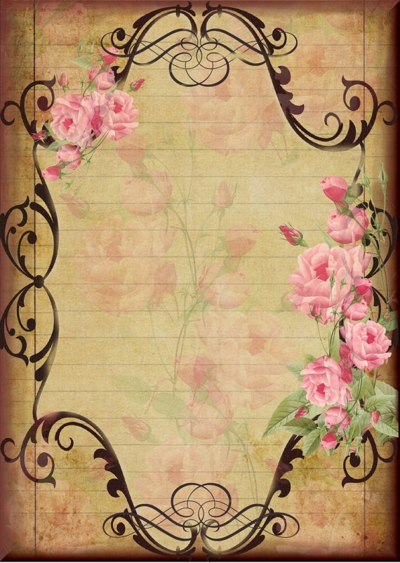 Pink Roses Downloadable Printable Note Paper 5x7 by naturepoet, $5.00