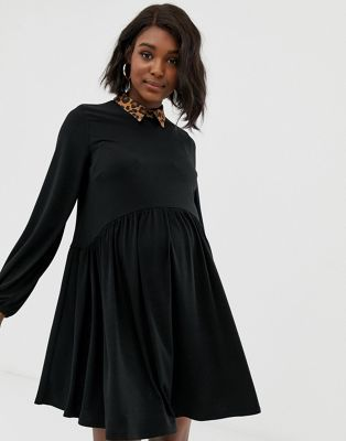 cfc32ec2e8e95b ASOS DESIGN Maternity mini smock dress with leopard collar Little black  dress