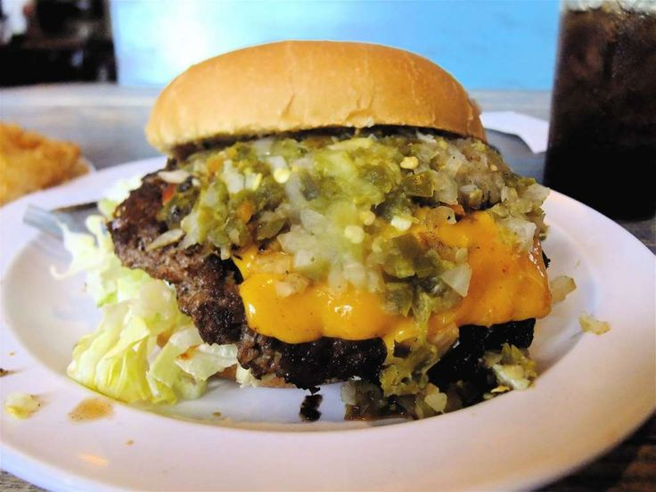 Stomp's Burger Joint Specialty burger ex.: Outlaw burgerBeef patty, melted…