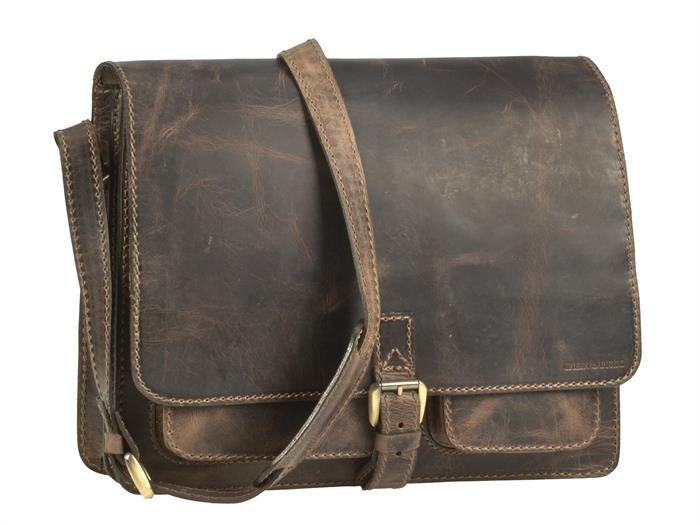 Greenburry Umhängetasche Tornister Schultasche Lehrertasche 2 Fächer 1 Vortaschen Schultergurt - eupäisches Rindsleder in antik braun
