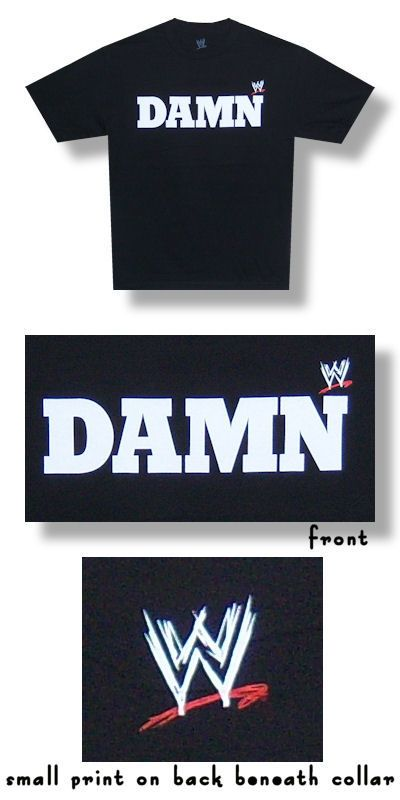 "WWE Authentic Ron Simmons ""DAMN"" Premium T-Shirt Black Medium"