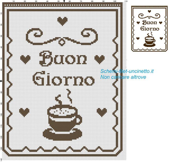 tendina con scritta buongiorno e tazzina di caffè schema filet uncinetto gratis
