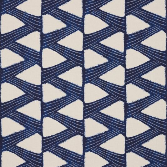Kanoko Fabric A striking fabric with a meandering graphic zig zag motif printed in cobalt on natural. The design is inspired by a 1930s Japanese Shibori document, once a kimono. Shibori is a traditional Japanese batik type technique which involves binding certain sections of the fabric to achieve the desired pattern.