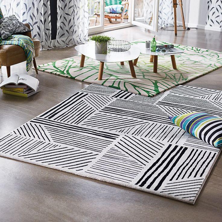 Teppich Graphics - Kunstfaser - Schwarz / Weiß - 120 x 170 cm