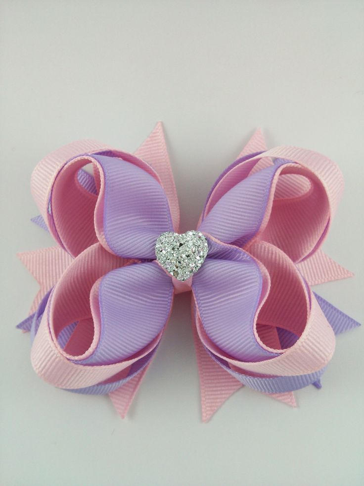 Light Pink and Lavender Stacked Boutique Hair Bow~ Gift for Child~ Photo Prop~ Birthday Bow~ Gift for Her~ Gorgeous Hair Bow~ Cute Hair Bow by GhinesCreations on Etsy