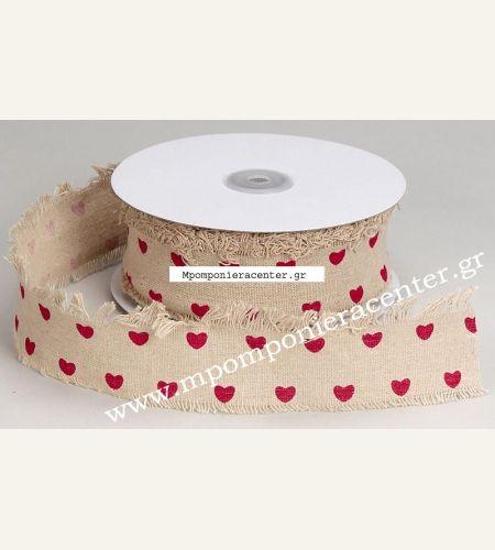 Κορδέλα βαμβακερή μπεζ με καρδούλες κόκκινες