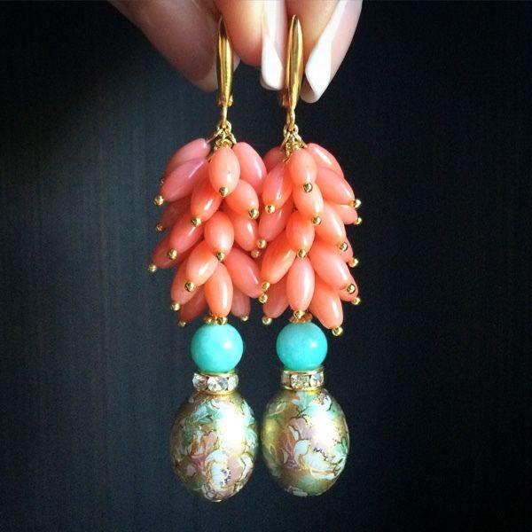 """Купить Серьги """"Розовый фламинго"""" - коралловый, коралловые серьги, креветочный коралл, лососевый коралл"""