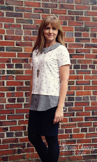 Tunic refashioned from a t-shirt and a skirt ~ Second Chances by Susan