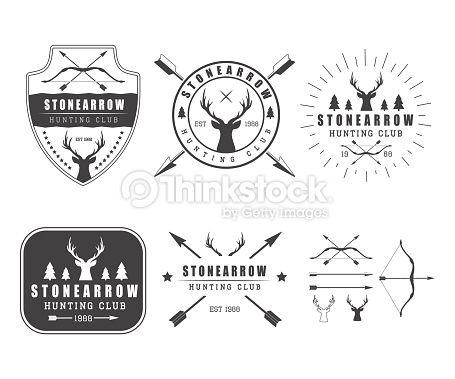 Arte vettoriale : Set di caccia vintage etichette, loghi, icone ed elementi di design