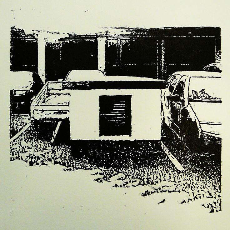 Jilemnického 555-25 [printmaking, cutting into MDF] #printmaking #woodcut #bunker #art