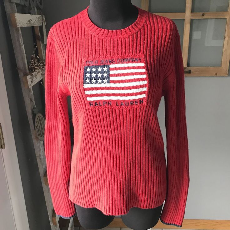 Polo Jeans Co Ralph Lauren Vintage 90's Red Ribbed Cotton Knit Flag Sweater L #PoloJeansRalphLauren #Sweater #Casual