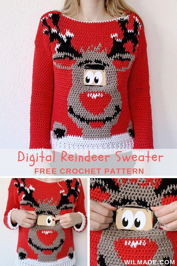 Digital Reindeer Christmas Sweater Free Crochet Pattern By