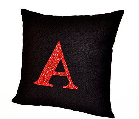Amore Beaute Handmade Red Sequin Monogram Decorative Cushion Cover- Monogrammed Cushion Cover- Cushion Cover- Black Linen Cushion Cover- Black Cushion Covers- Couch Cushion Covers- Monogramed Sham- Cushion Cover (30x50 cm)