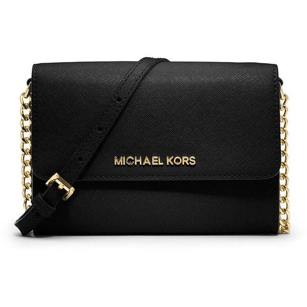 Michael Michael Kors Jet Set Travel Large Phone Crossbody Bag (€150) ❤ liked on Polyvore featuring bags, handbags, shoulder bags, bolsas, carteras, black, crossbody handbags, crossbody chain purse, flap crossbody and chain crossbody