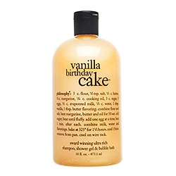 I've gotten my fiance' and I addicted to these body washes from Philosophy. I love the Vanilla Birthday Cake one but his favorite is the Mango Sorbet.  I've also tried the Purity cleanser from them. Not such a fan, as I've found a cheaper dupe that doesn't smell like alcohol.