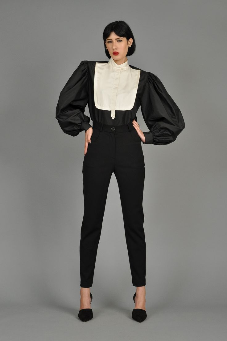 Luciano Soprani Black + White Silk Tuxedo Blouse | BUSTOWN MODERN