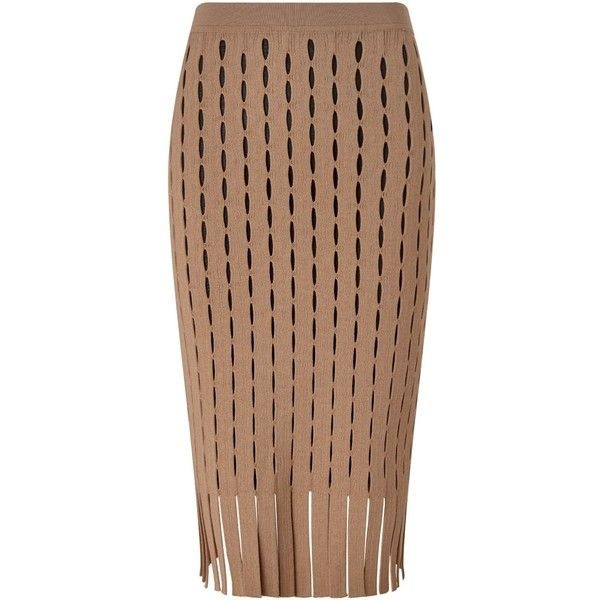 Alexander Wang Camel Fitted Perforated Pencil Skirt found on Polyvore