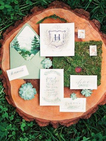 green wedding stationery зеленая свадебная полиграфия