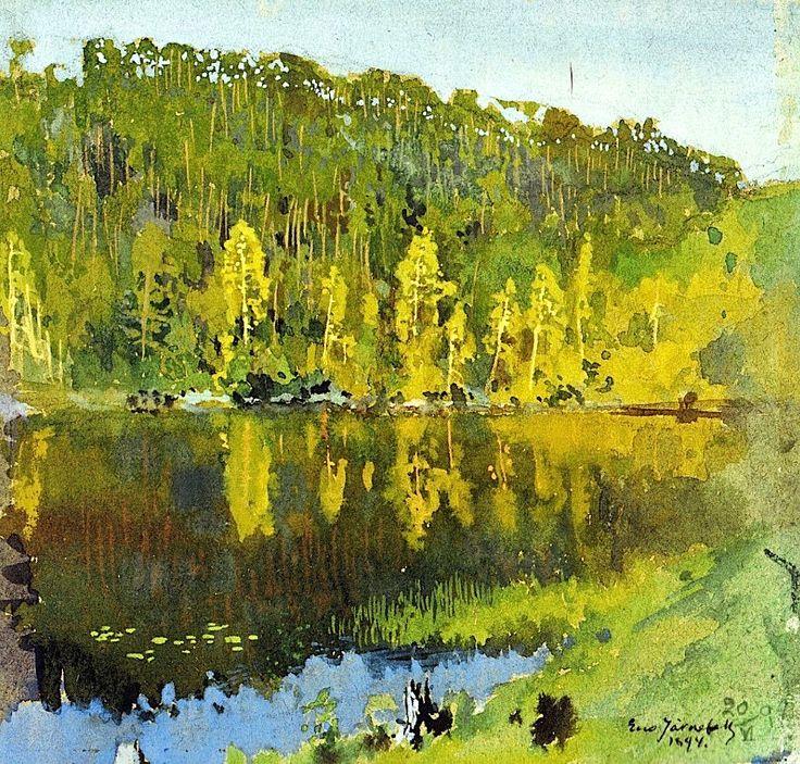 """the-paintrist: """" Eero Järnefelt - Metsälampi - 1894 Metsälampi is a beautiful lake in Finland """""""