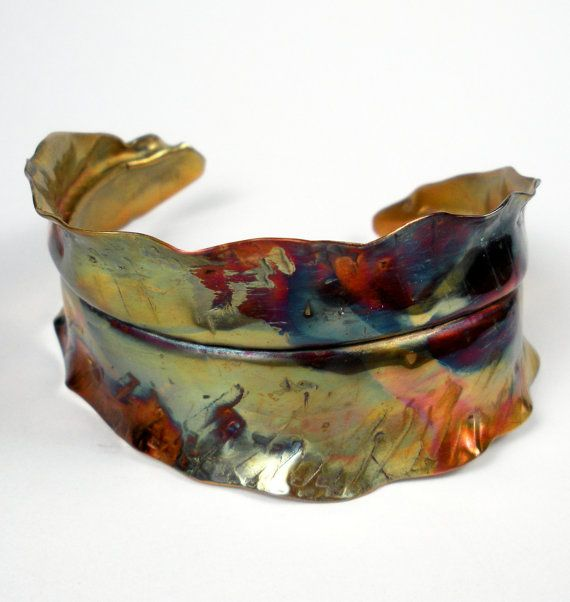 Organic Copper Cuff Bracelet, A Rustic Forged, Fold Formed and Hammered Copper Leaf Cuff With A Colorful Heat Patina-  In Transition