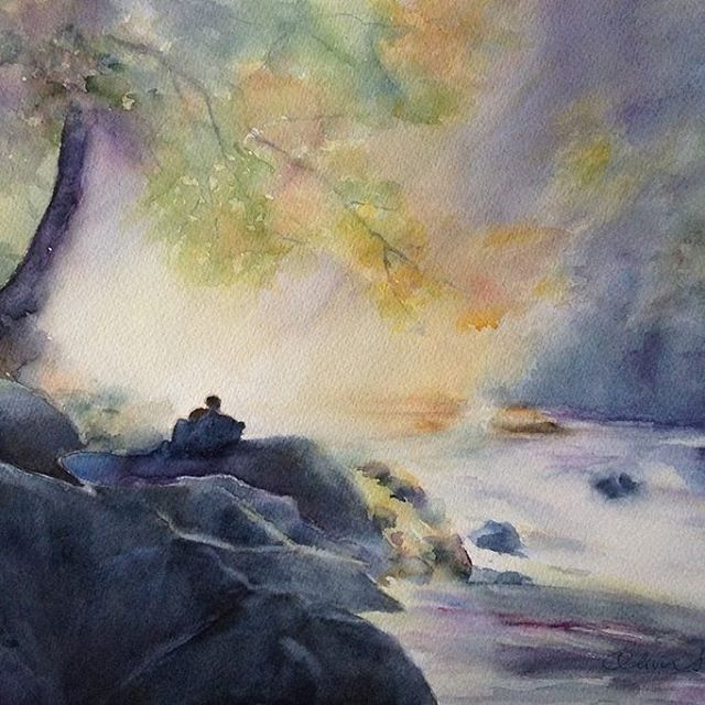 Moment - watercolour, paper The Langton 50 x 35cm by OliviArt