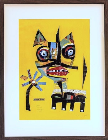 Richard  Denny Prince Ming (The Circus master's cat)- 2012/3 Vintage maps, acrylic on paper Approx 65 x 83 cm (framed) 42 x 59 cm (unframed)