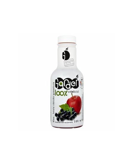 Garden 100%-os Alma-Fekete Ribiszke Gyümölcslé 500 ml - A kellemesen kesernyés ízű készítmény almalevet és fekete ribiszke gyümölcsvelőt tartalmaz. Egészségápoló hatása miatt ajánlott a rendszeres fogyasztása.