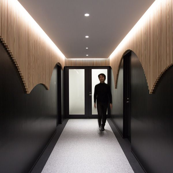Timber strips. Lend Lease2014 Tokyo, JapanGlobal property and construction firm Lend Lease commissioned BAKOKO to renovate the executive board room and reception facilities in their Tokyo headquarters, bringing them in line with new service offerings for VIP clientel.