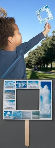 Heres a great way to teach about cloud identification and classification! Each child makes their own Nature-Watch Weather Window - a hand-held frame with a variety of cloud types classified by altitude. - I pinned the DIY version but here is the Official version.