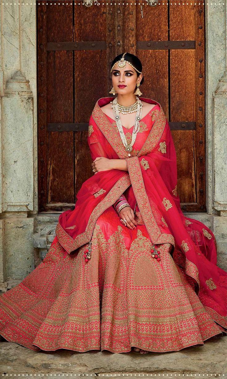Shop this stunning Red Color Designer Bridal Lehenga (SKU Code : LEHJDSKIM411B) Online at IshiMaya Fashion.